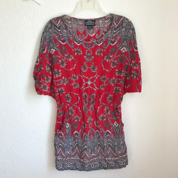 Angie Tops - Angie Tunic top boho red Paisley pockets cover up